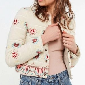 Urban Outfitters Embroidered Ivory Bolero Jacket